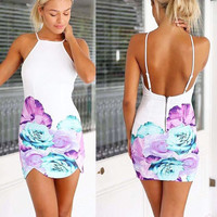 Printed Floral Bandage Dress Lady Mini Prom Dress Club Wear Cocktail Party Summer Sexy Backless Dress