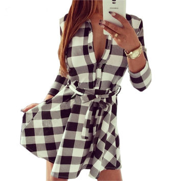 Vintage Autumn Fall Plaid Women Dress