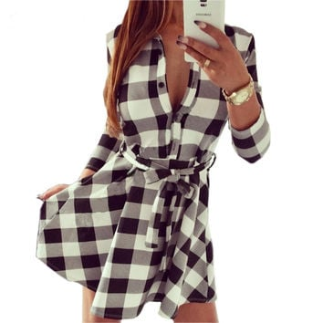 Women Plaid Check Print Vintage Dresses Spring Casual Shirt Dress Mini