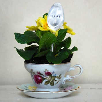 Shabby Chic Mismatched Tea Cup and Saucer Planter with Silver Plated Hand Stamped Spoon-GROW or LOVE