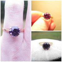 Vintage Color Change Sapphire Ring, Lovely Engraved Shoulders, 2.10 carat Synthetic Sapphire with Great Color Shift