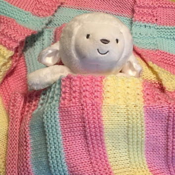 Cheery, hand knit baby blankets, made with 100% acrylic yarn