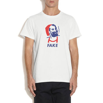 Zig Zag Paper T-shirt, White, Red and Blue, Fake the true brand, Silk Printing.