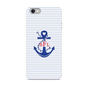 Preppy Collection - Monogrammed Personalized Cell Phone - Anchor Monogram Stripes Name Monogram Style - iPhone Case