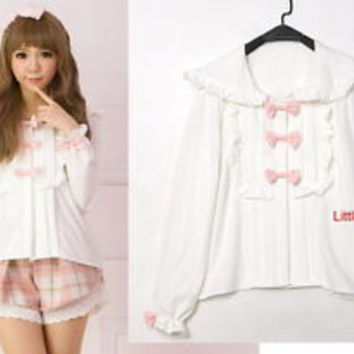Sweet Cute Fashion Lolita fairy kei vivi liz lisa Long Sleeve BOWS shirt Blouse