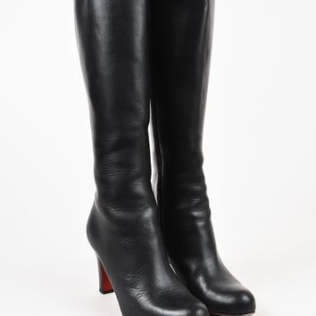 AUGUAU Christian Louboutin Black Leather Tall Heeled Boots