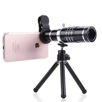 Universal 18X Zoom Mobile Phone Lens Telephoto Camera Lenses With Mini Tripod Telescope for iPhone 7 Samsung Huawei Xiaomi HTC