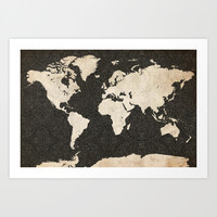 World Map - Ink lines Art Print by Map Map Maps
