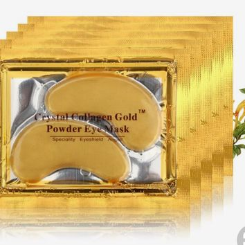 Crystal 24K Gold Powder Gel Collagen Eye Mask Masks Sheet Patch, Anti Agingk Circl,Dares and Puffiness, Anti Wrinkle, Moisturising,Whitening, Remove Blemishes and Blackheads