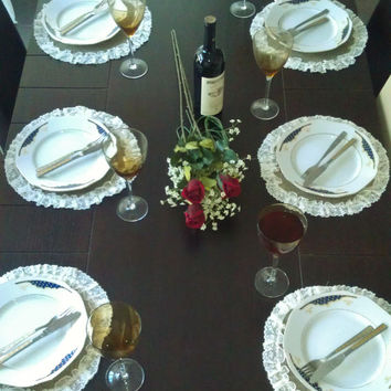 Round Burlap Placemat - Centerpiece Set of 6 Only 1 set remaining