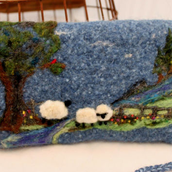 Sheep Purse, Hand Knit,  Blue Hand Dyed Felted , Needle Felted  Wool Art Purse
