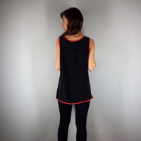 Black Silk Tunic with Coral Trim, Silk Blouse, Minimalist Shirt, Black minimalist blouse