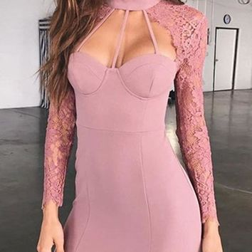 Pink Patchwork Lace Cut Out Long Sleeve Mini Dress