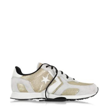 Converse Limited Edition Designer Shoes Auckland Racer Ox Gold Glam Fabric and Suede Sneaker w/Glitter