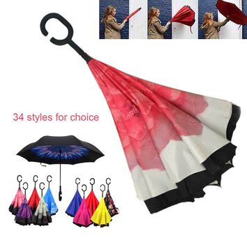 C-Hook Hands Windproof Reverse Folding Double Layer Inverted Chuva Umbrella Self Stand Rain Protection For Car J2Y