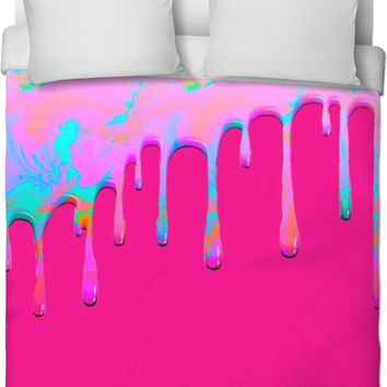 Dripping Paint Pink Duvet Cover