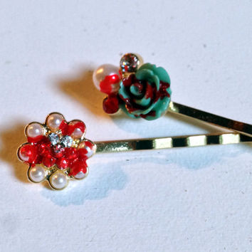 Bloody Flower Hair Pin, Goth Style, Halloween Accessory, Hair Clip, Turquoise Color, Zombie Hair Piece, Dead Flower, Bobby Pin