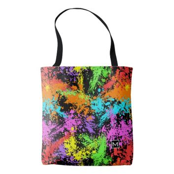 Monogram Rainbow Splatter Tote Bag