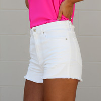 Distressed Cut Off Jean Shorts - White