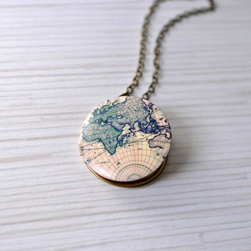 Map locket. Globe locket. Locket necklace. Travel locket. Travel gift. Birthday gift. Unique gift for friends. Adventure awaits. Wanderlust