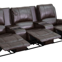 Allure Series 3-Seat Reclining Pillow Back Brown Leather Theater Seating Unit with Cup Holders