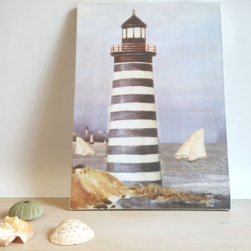 Vintage home decor, Nautical, Wall Art Print, Light House, Sea, Wall hanging, Blue, White