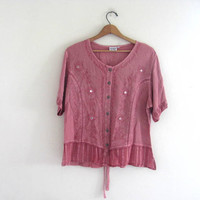 vintage indian embroiered top. pink tunic top. Festival blouse. size