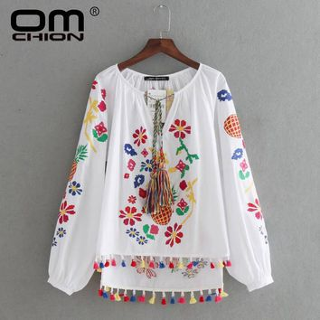 Long Sleeve pineapple embroidery Blouse Women Colorful Tassel Shirt Casual Summer Tops