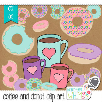 Coffee and Donut Clip Art Set - pink, aqua, and lavender food clip art - coffee mugs - donuts with sprinkles - commercial use