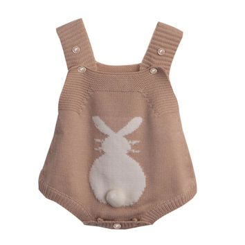 Spring Baby Rabbit Rompers Infant Sweet Knitted Overalls