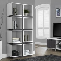"""White/gray Hollow-Core 71"""" Bookcase from Monarch (7076) 