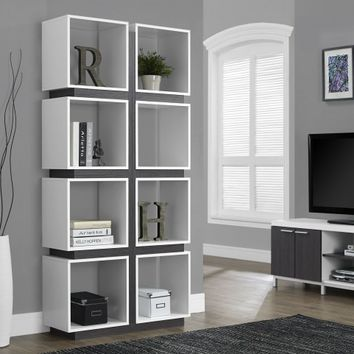 "White/gray Hollow-Core 71"" Bookcase from Monarch (7076) 