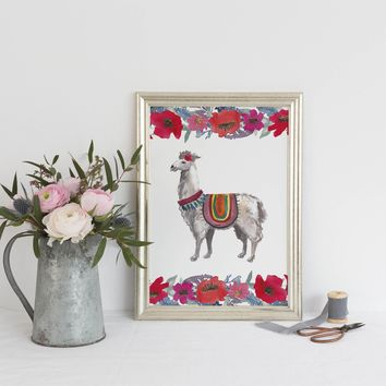 Llama and Floral Boho Chic Art Print