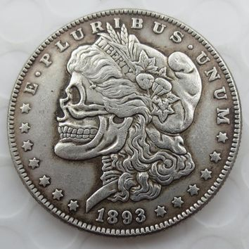 US Head-To-Head Two Face 1893O Morgan Dollar skull zombie skeleton hand carved Copy Coins