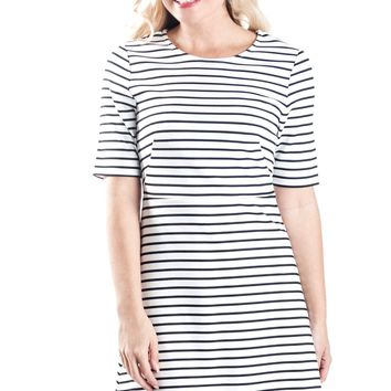 White Stripe Reese Fit and Flare Dress