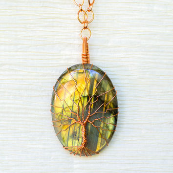 Tree of Life wire wrapped Natural Labradorite pendant