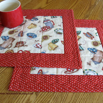 Quilted Place Mats, Coffee Cup Place Mats, Snack Mats, Red and White