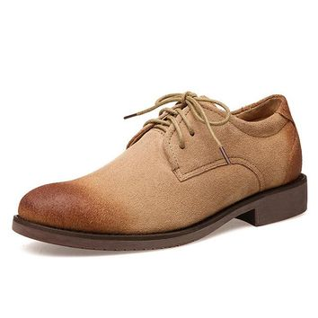 Retro Spring Summer Mens Nubuck Leather Lace Up Oxfords Casual Chukkas Dress Shoes Men Shoes