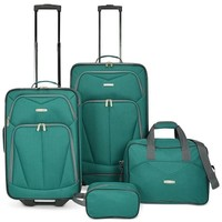 $280 NEW Travel Select Kingsway 4 Piece Spinner Suitcase Luggage Set Green Teal
