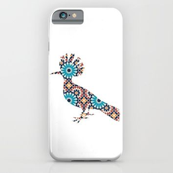 MOHAWK BIRD SILHOUETTE WITH PATTERN iPhone & iPod Case by deificus Art