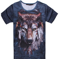 Blue Mike Wolf Print 3D Short Sleeve Graphic T-shirt
