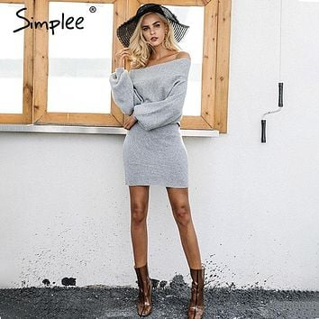 Simplee Off shoulder long knitted sweater dress Women elegant loose winter pullover dress Autumn batw sleeve gray sweater jumper