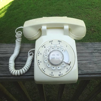 1982 Vintage Rotary Dial Telephone in Ivory, by Stromberg-Carlson, Removable Head Set Cord, Vintage Dial Phone, Vintage Technology, Made USA