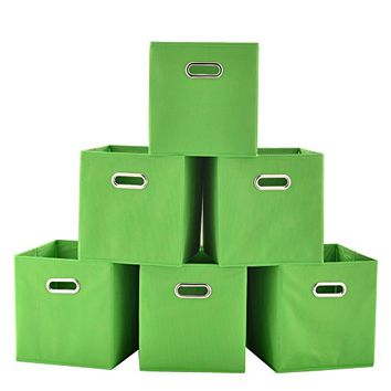 VCCUCINE Foldable Fabric Cube Storage Bins, 6 pack Green Cubeicals Containers Drawers