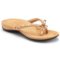 Vionic Orthaheel Bella II Toe Post Women Orthotic Flip Flop Sandals Gold Cork