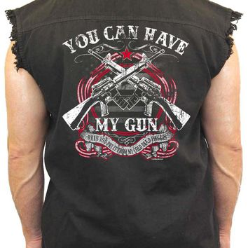 Men's Sleeveless Denim Shirt You can Have My Gun Biker