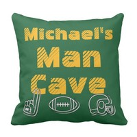 Man Cave Football Sports Team Personalized Green Throw Pillow