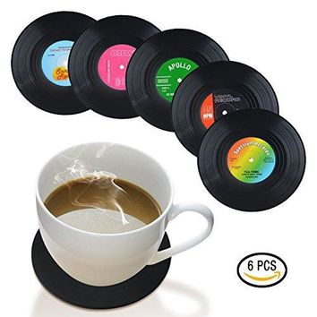 Coasters for Drinks by HIRUN - Set of 6 Vinyl Record Retro Music Coasters - Art Car Bar Tea Coffee Table Mug Beer Bottle Beverages Absorbent for Wine Glass Rubber Black Cup Mat - Large 4.2 inch Size