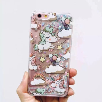 Cute Unicorn Dynamic Liquid Glitter Quicksand Star Hard Phone Case
