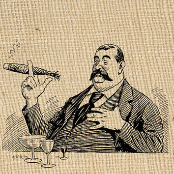 Humorous Man Large Cigar Vintage Digital Image for Tea Towels Men Scrapbooks Cards Pillows